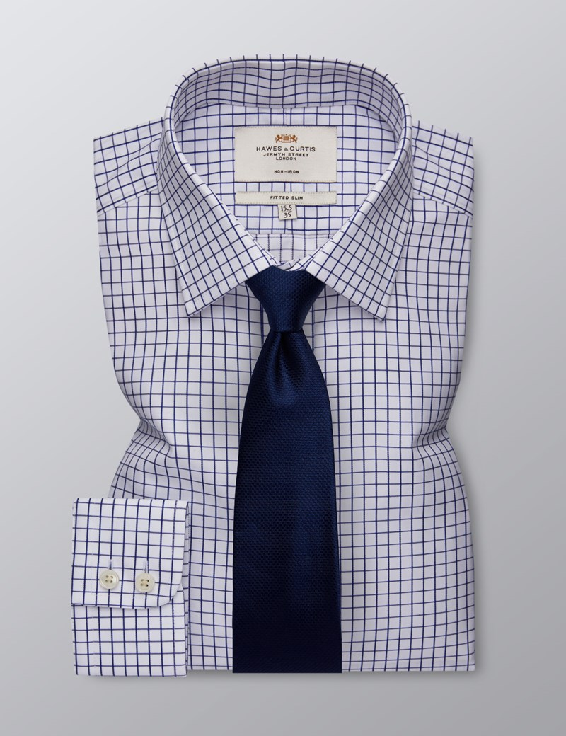 Men's Dress White & Navy Grid Plaid Fitted Slim Shirt - Single Cuff - Non Iron