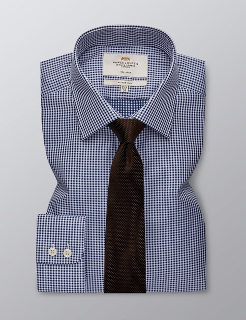 Men's Dress Navy & White Small Gingham Plaid Fitted Slim Shirt - Single Cuff - Non Iron