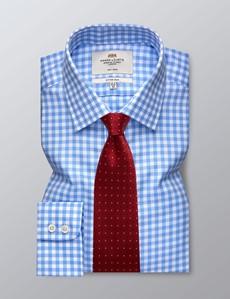 Bügelfreies Businesshemd – Fitted Slim Fit – Kentkragen – Gingham Karo blau & weiß