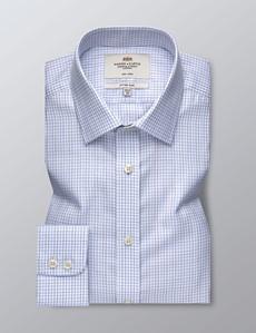 Bügelfreies Businesshemd – Fitted Slim Fit – Kentkragen – Karo schwarz & blau