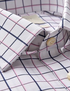 Men's Dress Check Navy & Pink Multi Plaid Fitted Slim Shirt - Single Cuff - Non Iron