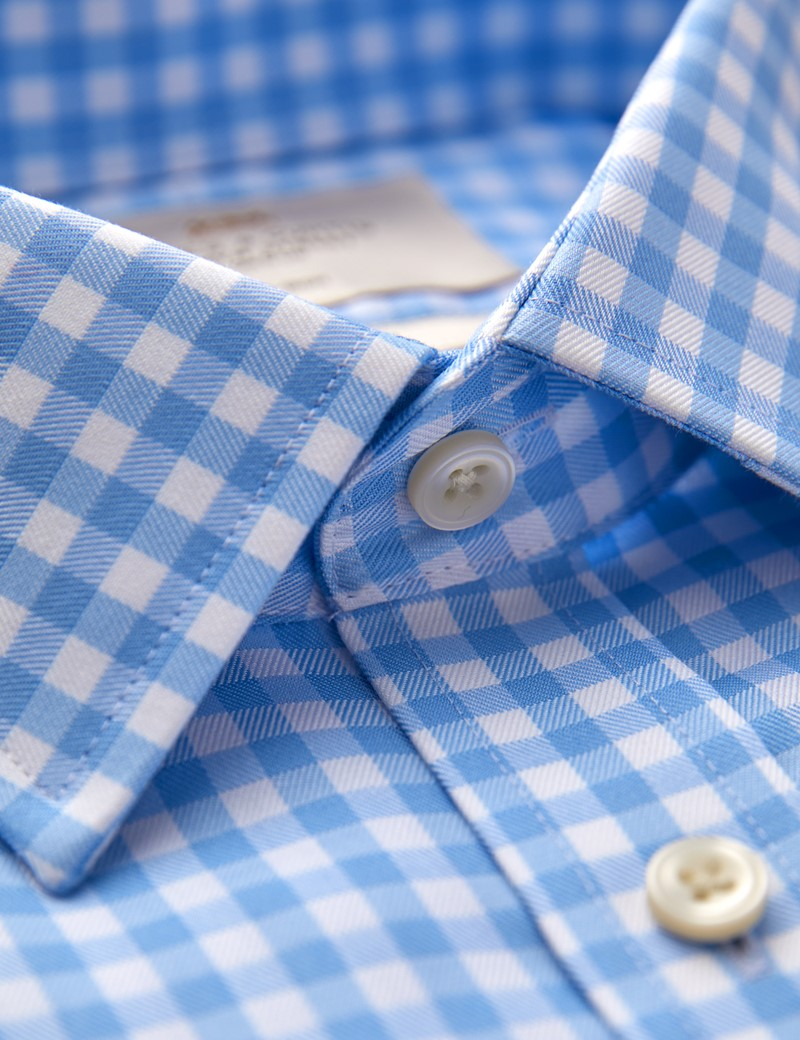Men's Business Check Blue & White Fitted Slim Shirt - Single Cuff - Non Iron