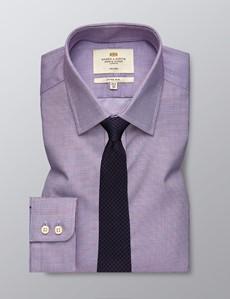 Bügelfreies Businesshemd – Fitted Slim Fit – Kentkragen – rot-blau kleines Karo