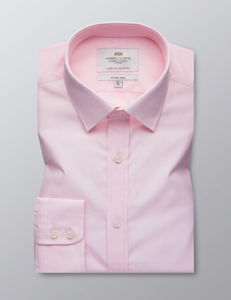 Men's Dress Mid Pink Poplin Fitted Slim Shirt - Single Cuff - Easy Iron