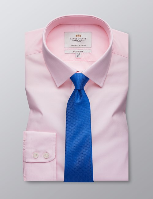 Men's Formal Mid Pink Poplin Fitted Slim Shirt - Single Cuff - Easy Iron