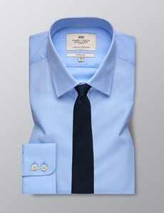 Men's Blue Poplin Fitted Slim Shirt - Single Cuff