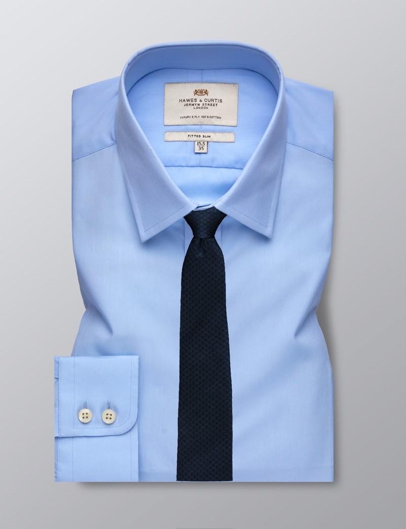 Businesshemd – Slim Fit – Kent Kragen – Mittelblau Popeline