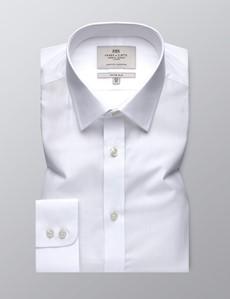 Men's Business White Poplin Fitted Slim Shirt - Single Cuff - Easy Iron