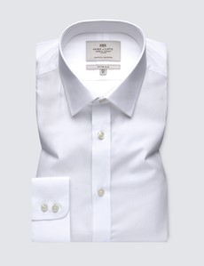 Men's Dress White Poplin Fitted Slim Shirt - Single Cuff - Easy Iron