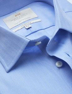 Men's Business Blue Herringbone Fitted Slim Shirt - Single Cuff - Easy Iron