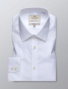 Men's Dress White Herringbone Fitted Slim Shirt - Single Cuff - Easy Iron