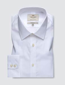 Men's Formal White Herringbone Fitted Slim Shirt - Single Cuff - Easy Iron