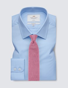 Men's Business Plain Blue Fitted Slim Shirt - Single Cuff - Easy Iron