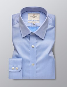Men's Dress Plain Blue Twill Fitted Slim Shirt - Single Cuff - Non Iron