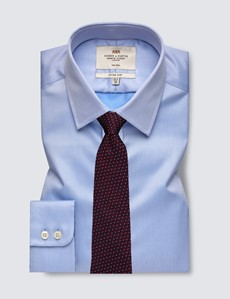 Men's Dress Plain Blue Twill Fitted Slim Shirt - Single Cuff - Non Iron