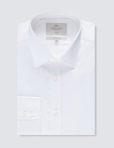 Men's Formal White Twill Fitted Slim Shirt - Single Cuff - Non Iron