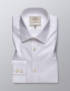 Business Hemd – Fitted Slim Fit – Kent Kragen – Gitterstruktur weiß