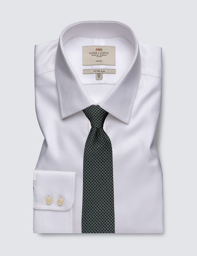 Men's Formal White Fabric Interest Fitted Slim Shirt - Single Cuff - Non Iron