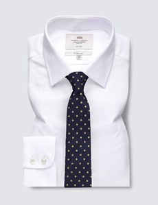 Men's Business White Fabric Interest Fitted Slim Shirt - Single Cuff - Non Iron