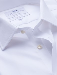 Men's Business White Twill Fitted Slim Single Cuff Shirt - Non Iron