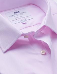 Men's Business Pink Herringbone Fitted Slim Single Cuff Shirt - Non Iron