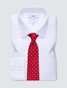 Men's Business White Herringbone Fitted Slim Single Cuff Shirt - Non Iron
