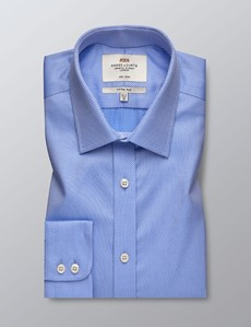 Men's Formal Blue Fabric Interest Fitted Slim Shirt - Single Cuff - Non Iron