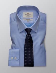 Men's Dress Blue Pique Fitted Slim Shirt - Single Cuff - Easy Iron