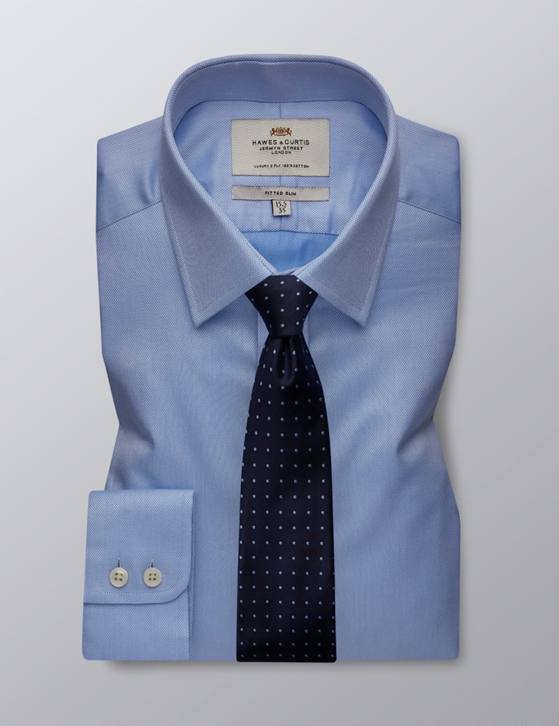 Men's Formal Blue Pique Fitted Slim Shirt - Single Cuff - Easy Iron