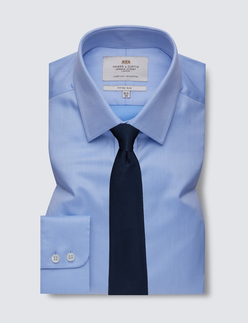 Men's Business Blue Pique Fitted Slim Shirt - Single Cuff - Easy Iron
