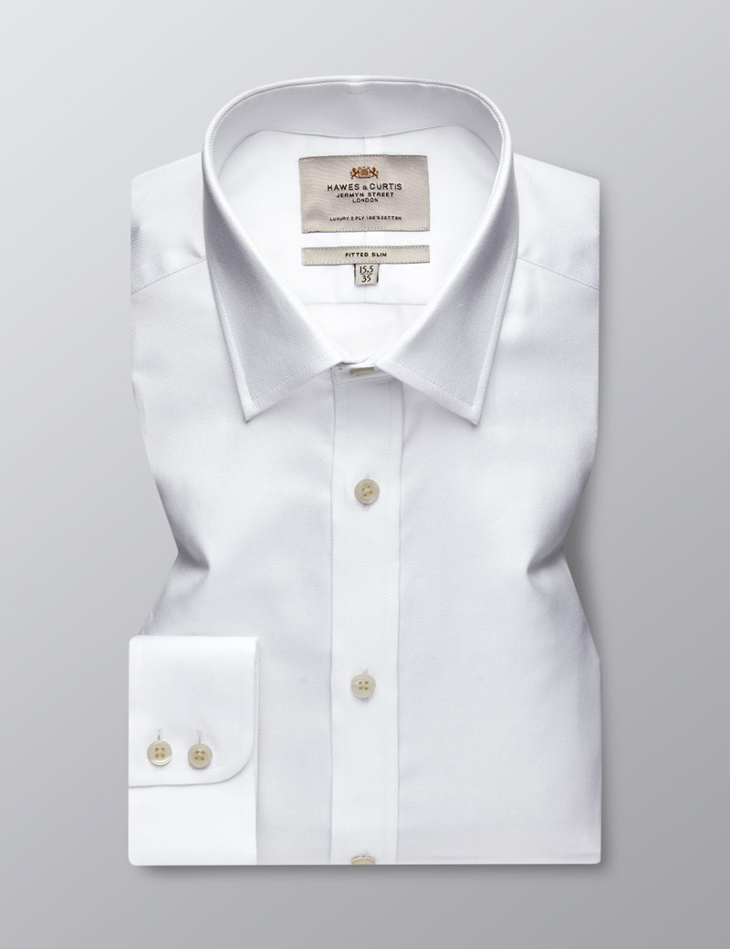 Men's Formal White Pique Fitted Slim Shirt - Single Cuff - Easy Iron