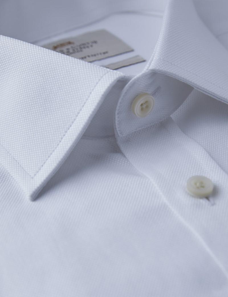 Men's Dress White Pique Fitted Slim Shirt - Single Cuff - Easy Iron