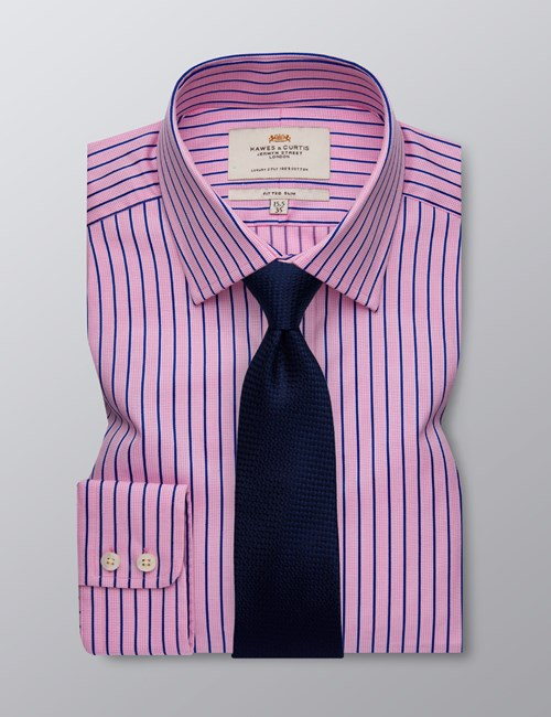 Men's Dress Pink & Navy Multi Stripe Fitted Slim Shirt - Single Cuff - Easy Iron