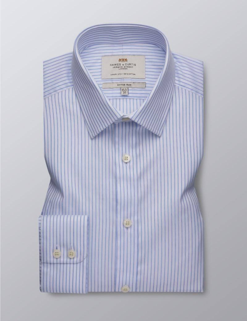 Men's Formal Blue & White Bi Colour Stripe Fitted Slim Shirt - Single Cuff - Easy Iron