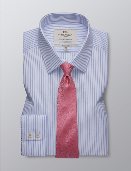 Men's Formal Blue & White Bi Colour Stripe Fitted Slim Shirt - Single Cuff - Easy Iron