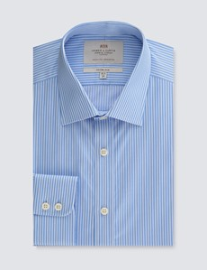Men's Dress Blue & White Stripe Fitted Slim Shirt - Single Cuff