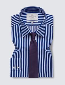 Easy Iron Royal & White Bold Stripe Fitted Slim Shirt - Semi Cutaway Collar