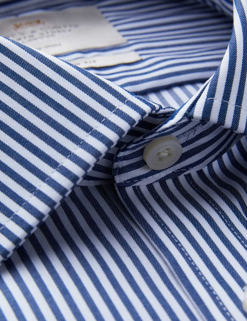 Men's Business Navy & White Bengal Stripe Fitted Slim Shirt - Single Cuff - Non Iron