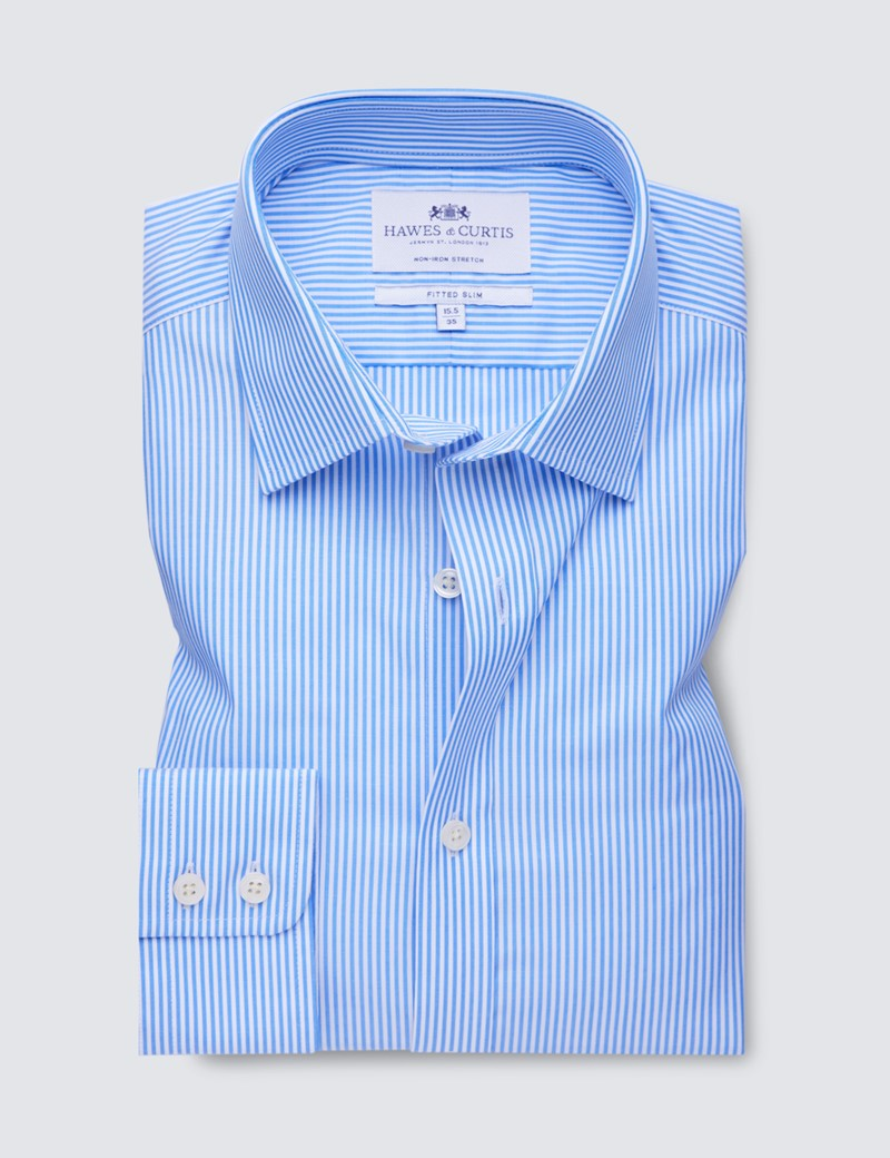 Men's Business Blue & White Bengal Stripe Fitted Slim Single Cuff Shirt - Non Iron
