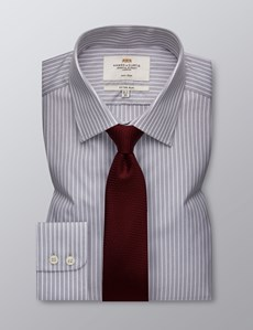 Men's Formal Grey & White Stripe Fitted Slim Shirt - Single Cuff - Non Iron