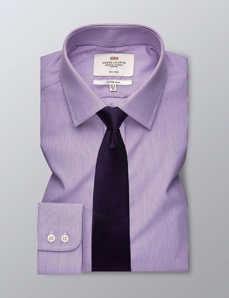 Men's Formal Lilac & White Stripe Fitted Slim Shirt - Single Cuff - Non Iron