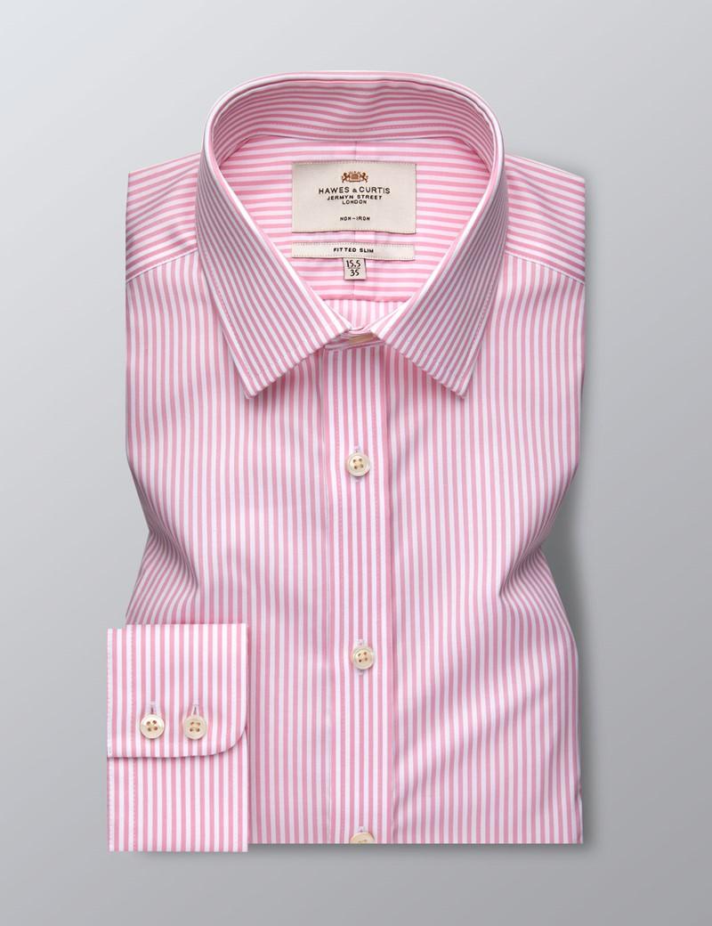 Men's Formal Pink & White Stripe Fitted Slim Shirt - Single Cuff - Non Iron