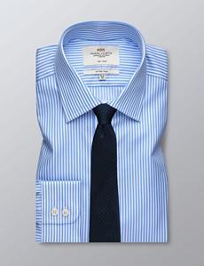 Men's Business Blue & White Bengal Stripe Fitted Slim Shirt - Single Cuff - Non Iron