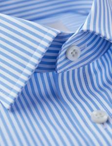 Men's Formal Blue & White Bengal Stripe Fitted Slim Shirt - Single Cuff - Non Iron