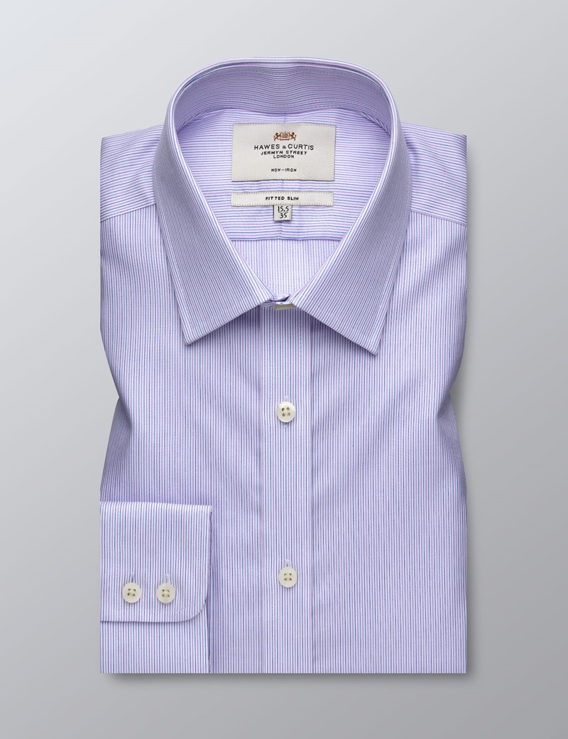 Men's Formal Pink & Blue Fine Stripe Fitted Slim Shirt - Single Cuff - Non Iron