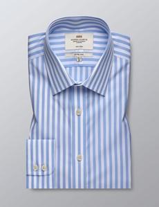 Men's Business Light Blue & White Bengal Stripe Fitted Slim Shirt - Single Cuff - Non Iron