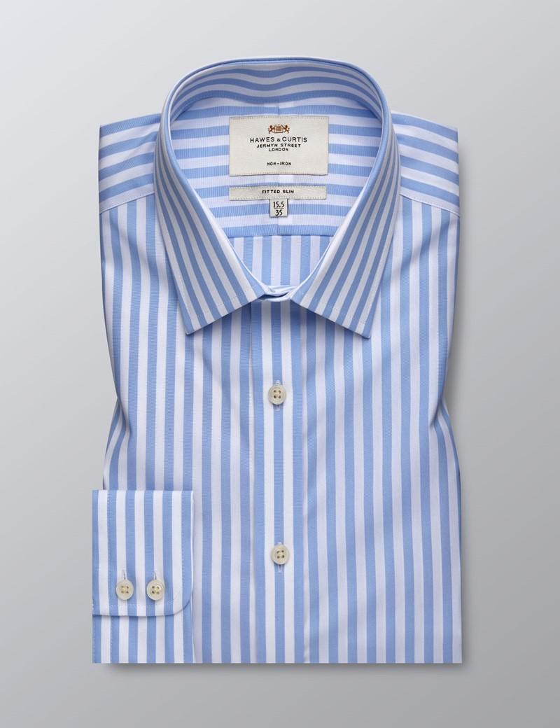 Bügelfreies Businesshemd – Fitted Slim Fit – Kentkragen – Blockstreifen hellblau