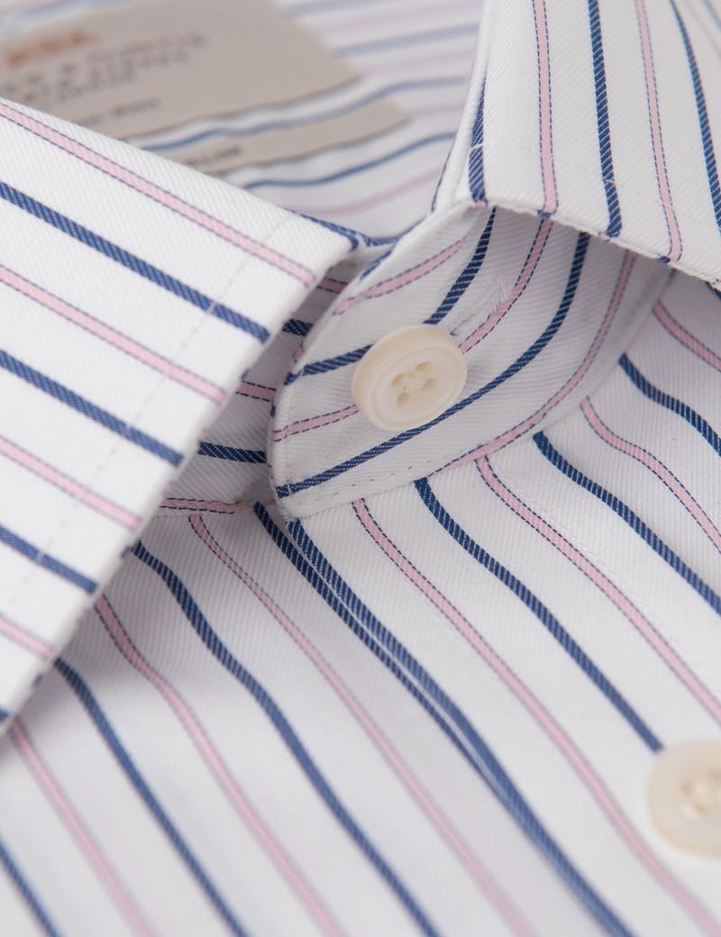 Men's Formal Pink & Navy Tramline Stripe Fitted Slim Shirt - Single Cuff - Non Iron