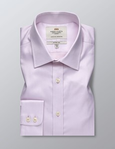 Men's Dress Pink Fabric Interest Fitted Slim Shirt - Single Cuff - Easy Iron
