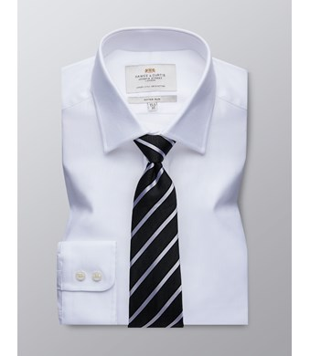 Men's Formal White Fabric Interest Fitted Slim Shirt - Single Cuff - Easy Iron